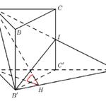 cho hình lăng trụ đứng abc.a'b'c' có đáy abc là tam giác cân với ab=ac=a và cạnh (bac={{120}^{0}}), cạnh bên bb'=a, gọi i là trung điểm của cc'. côsin góc tạo bởi mặt phẳng (abc) và (ab'i) bằng: 6097edcdadf71.png