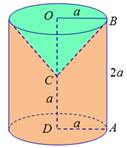 cho hình thang abcd vuông tại a và d, ad=cd=a, ab=2a. quay hình thang abcd quanh đường thẳng cd. thể tích khối tròn xoay thu được là: 6097a88bb9650.png